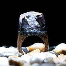 Anillos de madera de resina de joyería de moda para mujer anillos de dedo personalizados de paisaje con bosque Natural