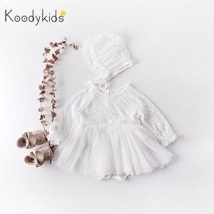 Koodykids/Боди для маленьких девочек; платье с длинными рукавами; весенние комбинезоны со шляпой; белые кружевные платья принцессы для девочек; ...