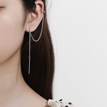 2pcs Silvology 925 Sterling Silver Long Chain Clip Earrings Two In One Texture Elegant for Women Fashionable Jewelry