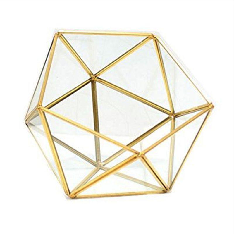 Glass Glass Terrarium Storage Box Jewelry Holder,Glass Geometric Terrarium Tabletop Succulent Plant Box Planter Holder /Gold