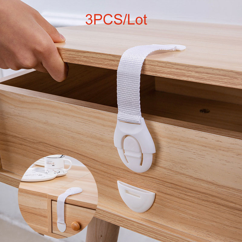 3pcs Plastic Baby Safety Protection From Children In Cabinets Boxes Lock Drawer Door Terminator Security Product