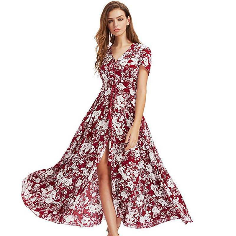 Brand Long Maxi Dress Print Plus Size Sexy Casual Summer Beach Clothes Women Vestidos Render Elegant Robe Boho Party Club Dress 1