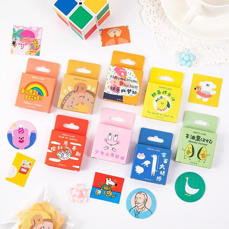 45 PCS Boxed Stickers Cartoon Animal Cute Avocado Decoration Sticker Flakes Scrapbooking School Supplies
