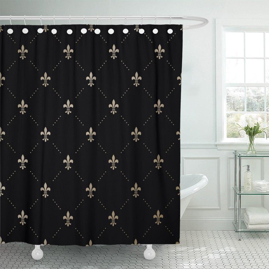 Motif or français avec Fleur De Lis sur rideau De douche Fleur roi noir tissu Polyester imperméable 72x72 pouces ensemble