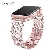 Kadın elmas saat kayışı için apple watch 38mm 42mm 40mm 44mm paslanmaz çelik kayış iwatch serisi 6 SE 5 4 3 bilek bandı bilezik