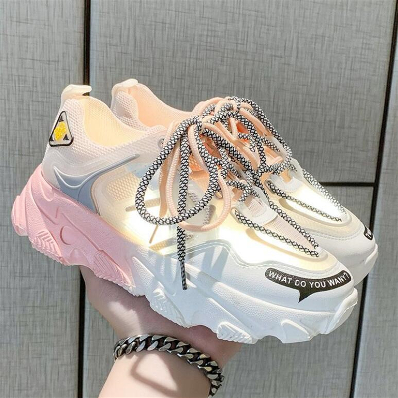 Fashion Women Shoes Mixed Color Platform Sneakers Height Increasing Female Chunky Shoes Ladies Vulcanize Breathable Sneakers 1