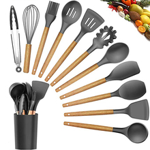 12piezas/set Herramientas de cocina Mango de madera de silicona Herramientas de cocina antiadherentes de alta calidad, incluida la caja de almacenamiento de pala de cuchara