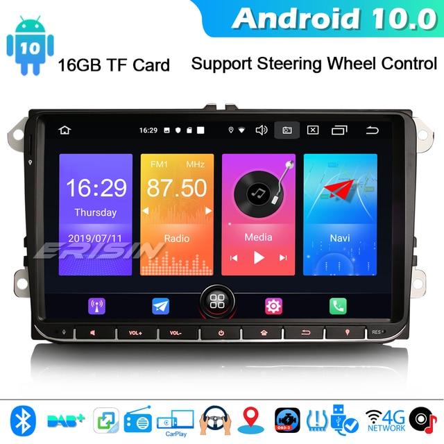 "ERISIN 2728 9 ""Android 10.0 Autoradio pour VW Passat Golf 5/6 Tiguan Jetta Caddy DAB + GPS WIFI 4G Bluetooth DVB T/T2"