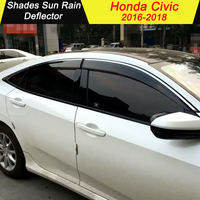 For HONDA CIVIC 2016 2017 2018 Plastic Window Visor Vent Shades Sun Rain Deflector Guard For CIVIC Auto Accessories 4PCS/SET