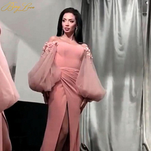 Off the Shoulder Evening Dress Sexy Strapless Neck Gown Long Fuffy Sleeves Flower Formal Abiye Sheath Prom Party Dress High Slit casual off the shoulder sheath slit dress