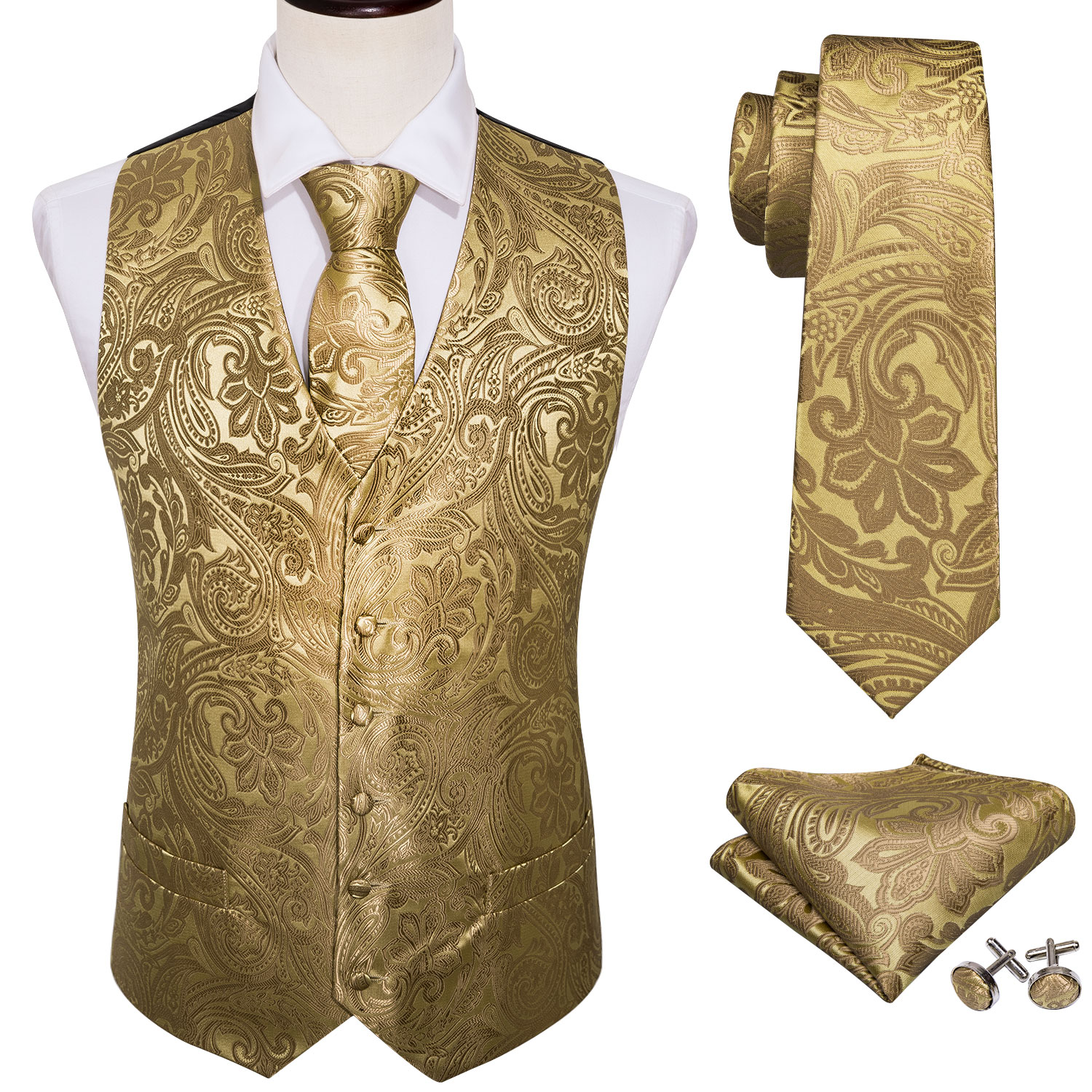 4PC Mens Extra Silk Vest Party Wedding Gold Paisley Solid Floral Waistcoat Vest Pocket Square Tie Suit Set Barry.Wang BM-2017