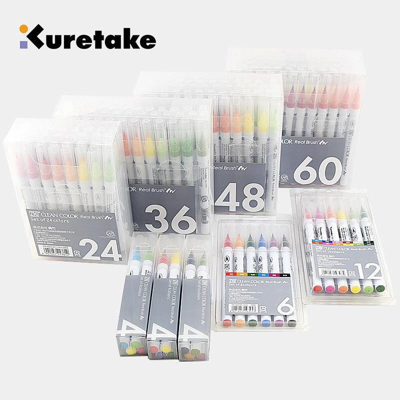 ZIG Kuretake Brush Pens CLEAN COLOR REAL BRUSH Set RB-6000AT Japan
