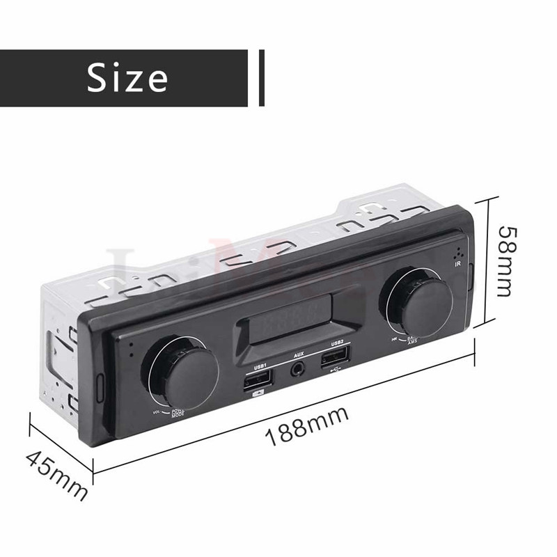 12V LED Display 1 Din Car Radio MP3 Player Vehicle Stereo Audio In-Dash USB Aux Input Receiver No Bluetooth Remote Control (3)