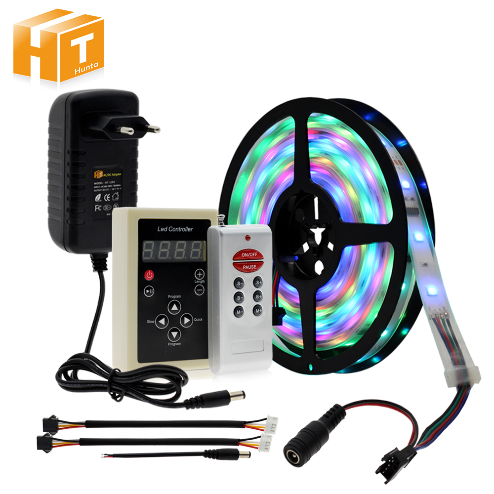 Horse Race Light Dream Color RGB Runing Changeable LED Strip 5050 5M 150 LEDs + 133 Program RF Controller + Adapter.