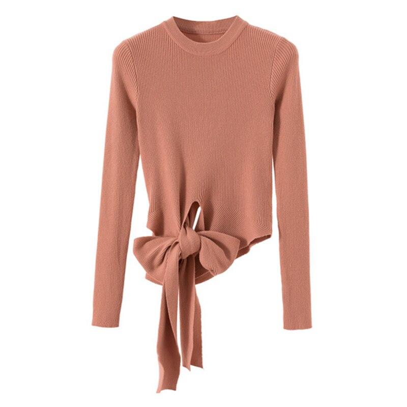 Gkfnmt Camisola Das Mulheres 2019 Moda Outono Inverno Sweater Mulheres de Slim Sexy Lace Up Hight Malha Pullovers Rosa Preto Branco