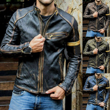 European and American Style Men's Clothing Leather Coat Trendy Men Teenagers Stand Collar Punk Men Motorcycle Leather Jacket