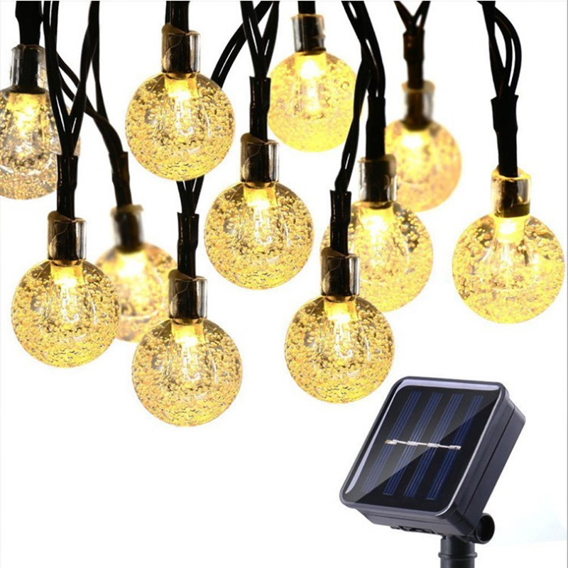 5M20LED Solar Lamp Crystal Ball LED String Lights Flash Waterproof Fairy Garland For Outdoor Garden Christmas Wedding Decoration