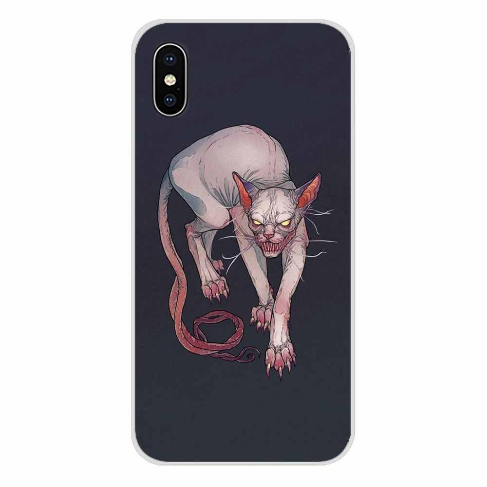 Pour Samsung A10 A30 A40 A50 A60 A70 M30 Galaxy Note 2 3 4 5 8 9 10 PLUS animal Sphynx chat Chauve Accessoires coque de téléphone Couvre
