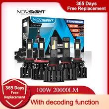 NOVSIGHT Auto Scheinwerfer H4 Hallo/Lo Strahl LED H7 H8 H9 H11 9005/HB3 9006/HB4 100W 20000LM 6000K Weiß Auto Decoder Scheinwerfer Lampen