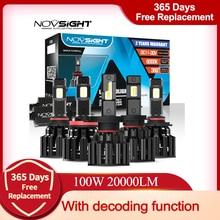 Novsight carro farol h4 hi/lo feixe led h7 h8 h9 h11 9005/hb3 9006/hb4 100w 20000lm 6000k branco auto decodificador lâmpadas do farol