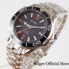BLIGER Men Watch Automatic Movement GMT Model Sapphire Glass Date Window Rotating Bezel Steel Band цена 2017