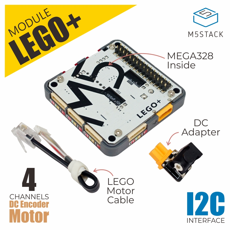 M5Stack New LEGO+ Module MEGA328 Inside 4 Channels DC Encoder Motor With 10cm Motor And DC Adapter I2C M5 ESP32 Board Compatible