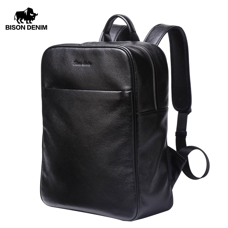BISON DENIM Genuine Leather Backpack Men Large Capacity Travel Bag 14
