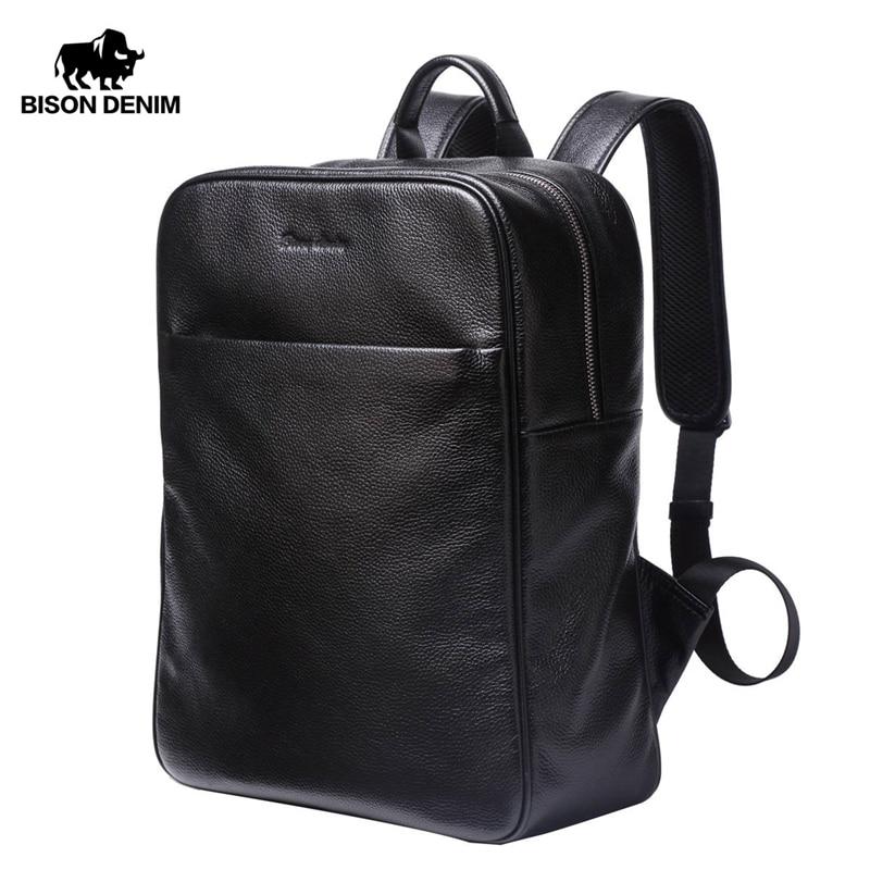 BISON DENIM en cuir véritable sac à dos hommes grande capacité sac de voyage 14 ordinateur portable sac d'école pour adolescent loisirs sac à dos N2659 - 1