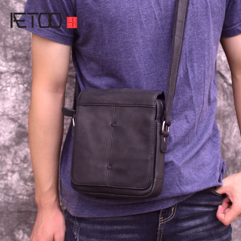AETOO New Handmade Men's Bag, Casual Stiletto Bag, Leather Men's Matte Leather Retro Shoulder Bag