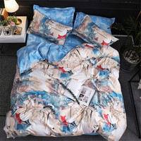 Japan Size Blue Abstract Flower Double Bed Llinen Reactive Printing Full Size Bedding Sets Brief Bed Sheet 4 Pieces With Elastic