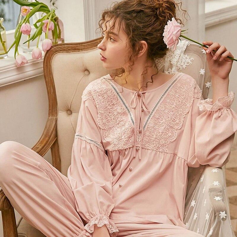 Pajamas Women Cotton  White Pink Pajama Suit Long Sleeve Pajamas Leisure Sweet Sleepwear Lady