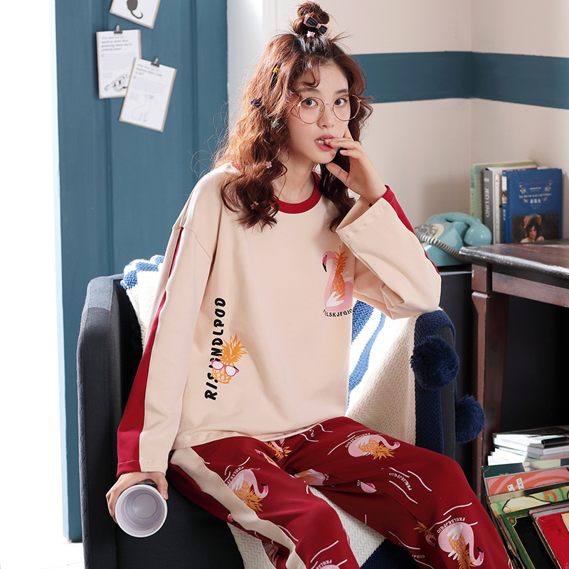 Pajamas Women's Spring And Autumn 6535 Knitted Cotton Long Sleeve Trousers Crew Neck Women's Japanese Korean Nursing Home Wear T