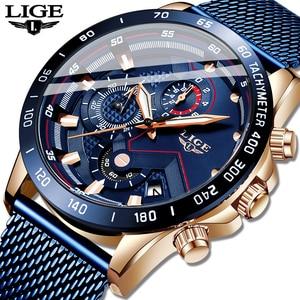 Image 5 - LIGE Mode Neue Herren Uhren Marke Luxus Armbanduhr Quarz Uhr Blau Uhr Männer Wasserdichte Sport Chronograph Relogio Masculino