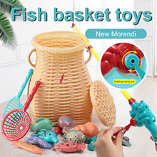 Game-Set Fish-Basket-Toys Pool-Party Fishing Magnetic Children Boy with Pole-And-Net