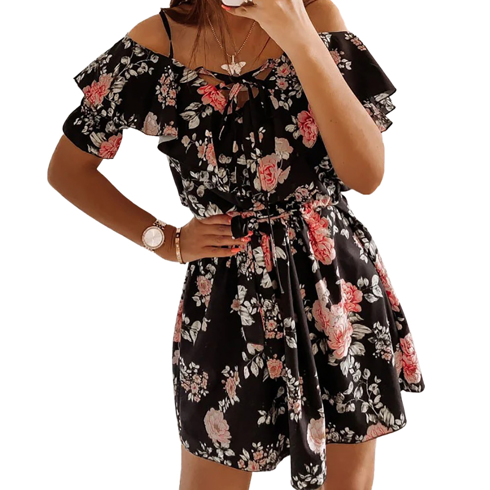 Fashion Women Floral Print Tie Up Mini Dress Summer Holiday Ruffles Sundress Dress Short Sleeve Strap V Neck Plus Size Dress D30