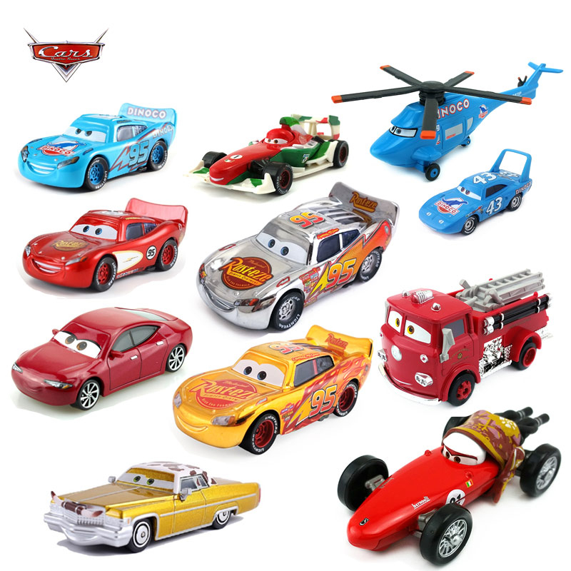 Disney Pixar Racing  3 40 Styles Electroplated Silver McQueen And Car King 1:55 Die-cast Car Metal Alloy Boy Children's Toy Gift