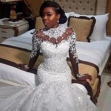 Luxo vestido de noiva nova high end renda cristal longo mangas compridas marfim sexy sereia africano vestido de casamento trailing robe mar