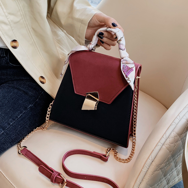Vintage Fashion Female Ribbon Tote Bag 2019 New High Quality PU Leather Women's Designer Handbag Lock Chain Shoulder Messenger Bag