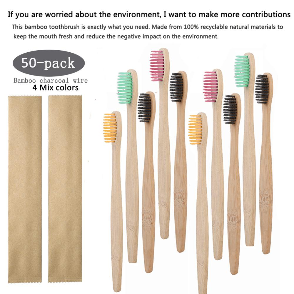 50pcs/set Environmental Natural Soft Toothbrush Pure Bamboo Paper Bag Wooden Handle Toothbrushes Dental Care Tools