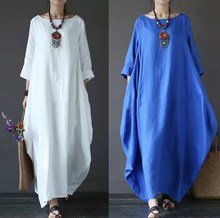 Womens O Neck Mid Sleeve Kaftan Maxi Dress Summer Autumn Cotton Linen Gown Robe Dresses Plus Size Large