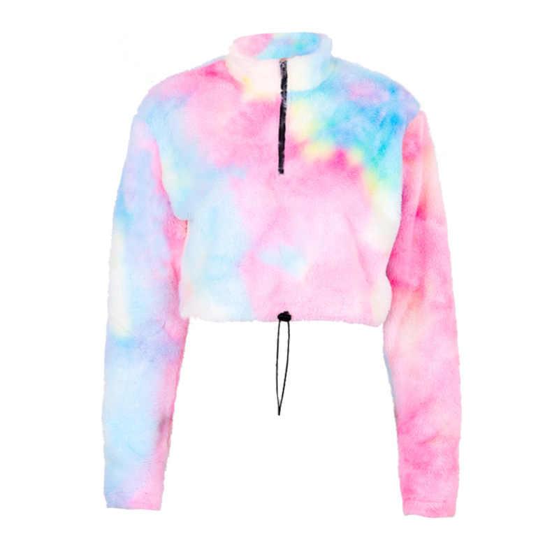 Dame kleidung sweatshirt frauen langarm casual kleidung mode kurze mantel Hülse sweatshirt Regenbogen farbe sport kleidung samt