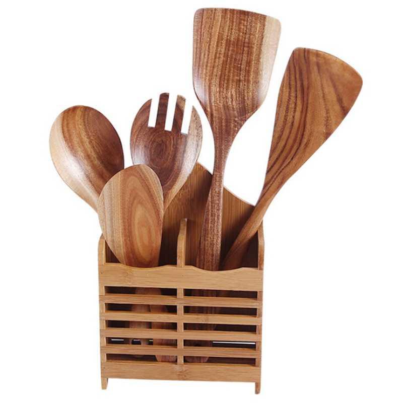 Colher de sopa de madeira grande colher de sopa de madeira natural longo manuseado cozinhar colher de cozinha panelas colher de madeira