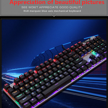 Gaming Mechanical Keyboard With LED Backlight USB Wired Laptop Manipulator Luminous Blue Swich for PC Laptop 3