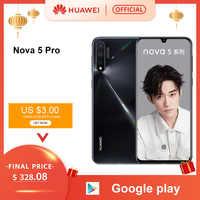 Originale Huawei Nova 5 Pro 8 Gb 128 Gb 256 Gb Smartphone 48MP Ai Telecamere 32MP Anteriore Della Macchina Fotografica 6.26 ''a Schermo Intero Kirin 980 Nfc