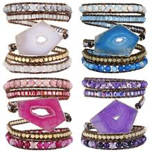 SUNYIK Wrap Bracelets Onyx Beads Bohemian Woven Leather Friendship Bangle,Healing Geode Slices Stone Jewelry for Women
