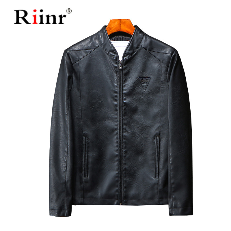 Riinr 2019 New Arrival Autumn Man Jacket PU Leather Causal Fashion Turn Down Zipper Men Outwear Coat Brand Clothes