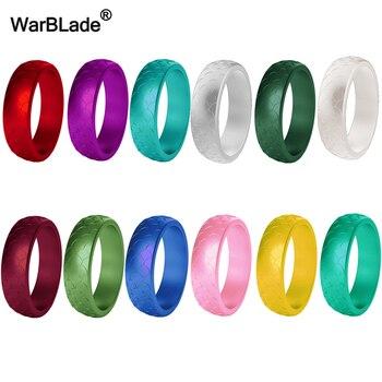 Женские силиконовые кольца в виде рыбьего чешуи WarBLade, обручальные гипоаллергенные кольца из пищевого силикона, 5,7 мм, FDA