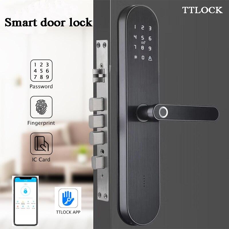 Güvenlik ve Koruma'ten Elektrikli Kilit'de Akıllı ev kapı kilidi Bluetooth telefon APP TTlock biyometrik parmak izi kilidi bir zaman kodu RFID ağ geçidi erişim kontrolü