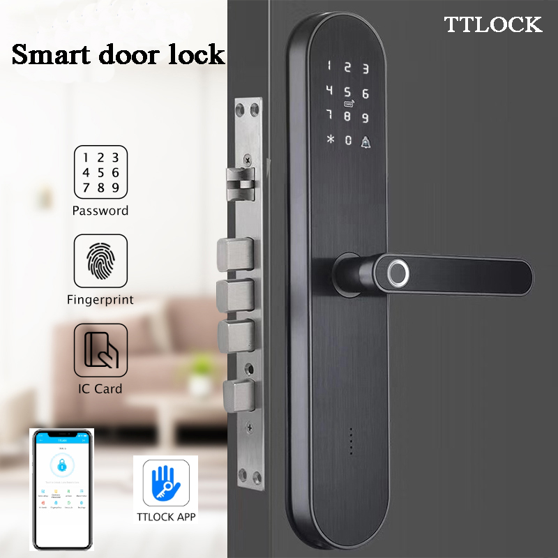 Smart Home Door Lock Bluetooth Phone APP TTlock Biometric Fingerprint Lock One Time Code RFID Gateway Access Control