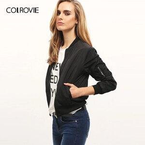 Image 2 - Colrovie 블랙 스탠드 칼라 지퍼 자르기 자켓 여성 2019 가을 streetwear 패션 폭격기 자켓 숙녀 솔리드 겉옷